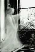 stock photo of banshee  - A ghostly prescence points through the window of an old ruined mansion - JPG