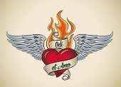 Old-school styled tattoo of a flaming heart with blue wings. The motto Odi et Amo (Latin) means I ha