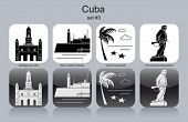 Landmarks of Cuba. Set of monochrome icons. Editable vector illustration.