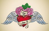 Old-school styled tattoo of a red heart, pink roses and blue wings. The motto Ego Amo Te  (Latin) me