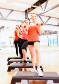 stock photo of step aerobics  - fitness - JPG