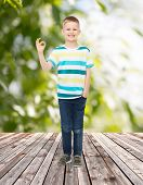 childhood, summer, gesture and people concept - smiling little boy showing ok sign over plants and w