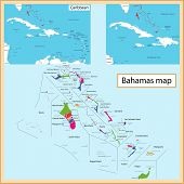 Map of the Commonwealth of the Bahamas drawn with high detail and accuracy. The Bahamas is divided i