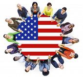 People Holding Hands and USA Flag Conference Table