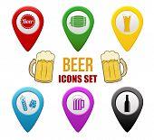 Set Of Beer Locators Icons