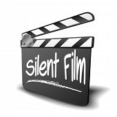 detailed illustration of a clapper board with Silent Film term, symbol for film and video genre, eps