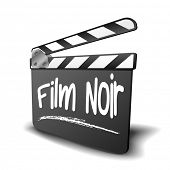 detailed illustration of a clapper board with Film Noir term, symbol for film and video genre, eps10