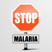 detailed illustration of a red stop Malaria sign, eps10 vector