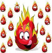 Dragon Fruit Cartoon With Many Facial Expression