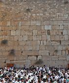 JERUSALEM, ISRAEL - OCTOBER 16, 2011:  Thousands of Jews had gathered for morning prayers on the fea
