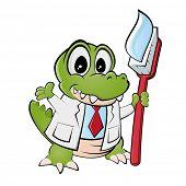 funny cartoon crocodile with toothbrush