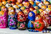 Colorful Russian Nesting Dolls Matreshka At The Market. Matrioshka Nesting Dolls Are The Most Popula