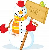 Snowman With Red Gloves