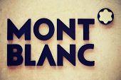 VERONA, ITALY - MAY, 2014: Mont Blanc brandmark on modern facade.