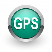 gps green glossy web icon