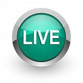 live green glossy web icon