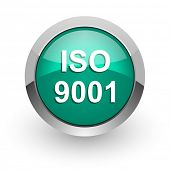 iso 9001 green glossy web icon