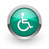 wheelchair green glossy web icon