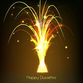 Beautiful illustration of firework with bright golden, orange and yellow light spreading out small s
