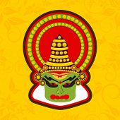 pic of onam festival  - Illustration of Kathakali dancer face with traditional makeup and crown on a floral decorated yellow background for Onam festival celebrations - JPG