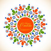 Colorful floral design decorated rangoli with snake boat and golden text Happy Onam.