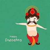 foto of dussehra  - Funny illustration for Dussehra wearing red clothes and crown on a simple green background - JPG