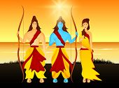 picture of sita  - Beautiful picture of Lord Rama holding his bow with his brother Laxman and wife Sita on a sceneric background with sun and river - JPG