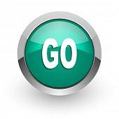 go green glossy web icon