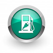 fuel green glossy web icon