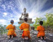 Novice Monk praying to the Buddha