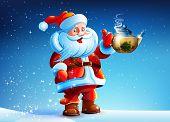 Santa Claus offers drink tea.