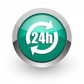 24h green glossy web icon