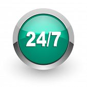 24/7 green glossy web icon