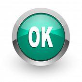 ok green glossy web icon