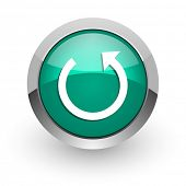 rotate green glossy web icon