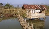 The Wooden House On Stilts Over A Pond