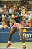 Sixteen times Grand Slam champion Serena Williams during first round doubles match at US Open 2013