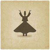 image of sufi  - dervish dancer old background  - JPG