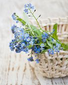 .bouquet Of Spring Flowers In Basket