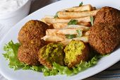 Falafel With French Fries On A White Plate And Tzatziki