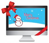 New Computer Christmas Gift Vector Illustration