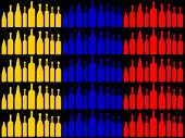 Bottles Flag Shows South America And Cafe