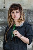 Preety Rastafarian Girl Drinking Beer