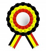 Belgian Rosette Shows Waving Flag And Belgium