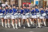 Drummer Girls At The Parade In Kiev, Ukraine