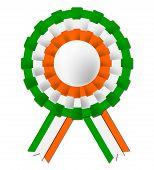 Irish Rosette Indicates National Flag And Celebration