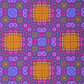 Retro Pattern Orange Blue Magenta