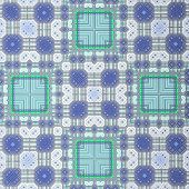 Retro Pattern White Blue Green