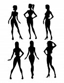 Picture of six girls silhouette.