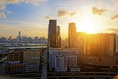 Urban downtown city at sunset, hong kong